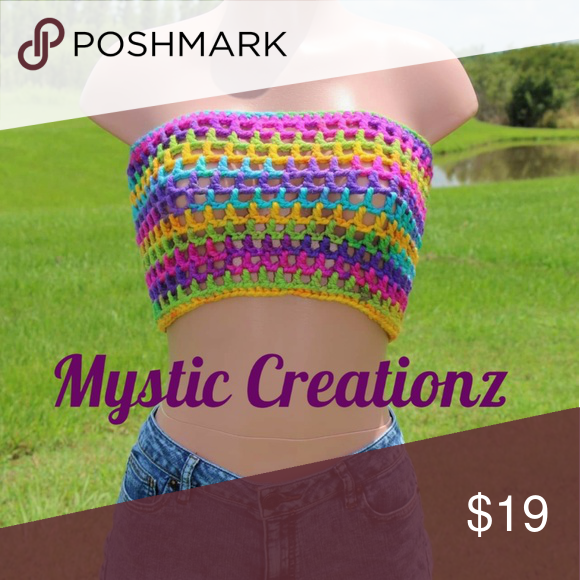 Crochet tube top One of a kind super cute tube top Mystic CreationZ Tops Crop Tops #tubetopoutfits
