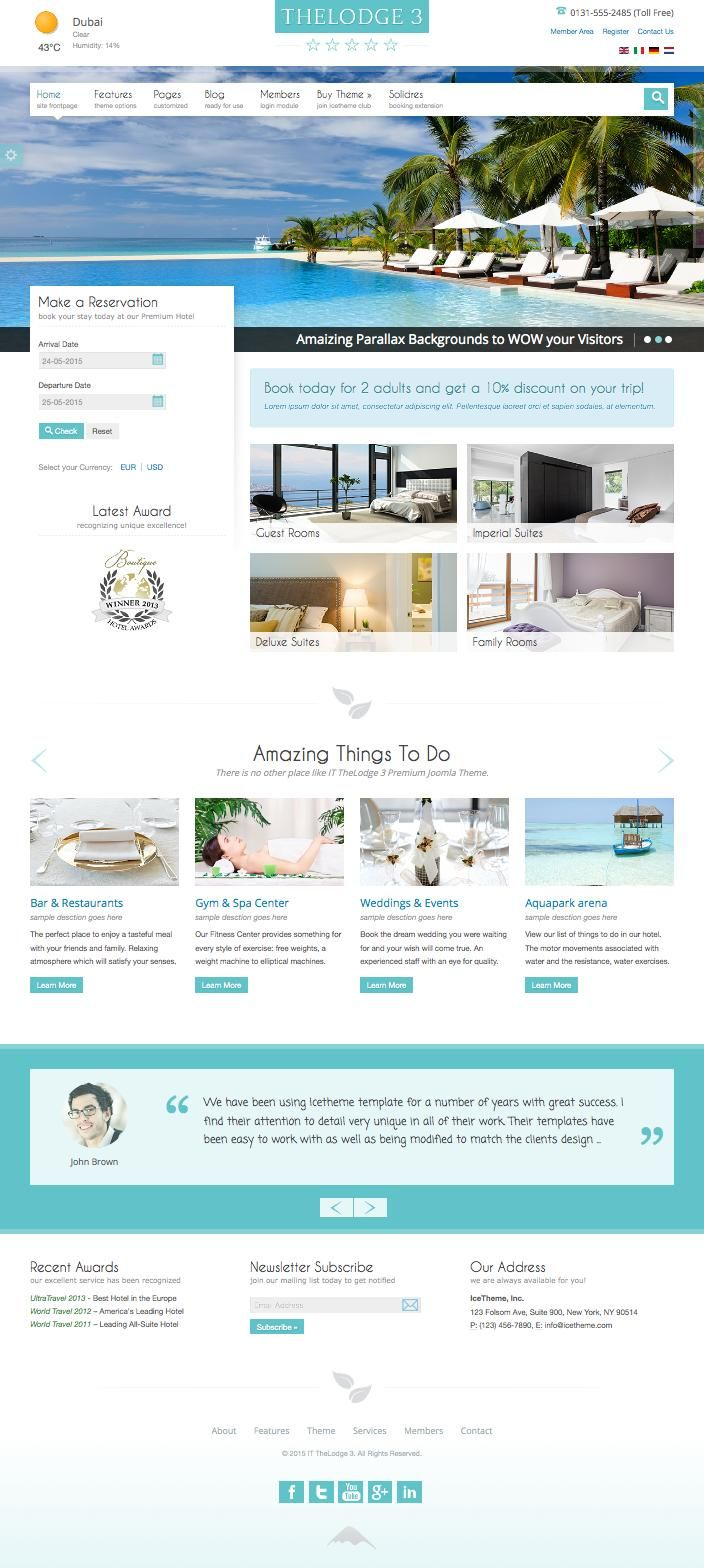 IT TheLodge 3 Joomla Hotel Room Reservation Template | Joomla ...