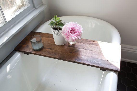 Rustic Wood Bathtub Tray - Walnut Bath Tub Caddy Wooden Bathtub ...