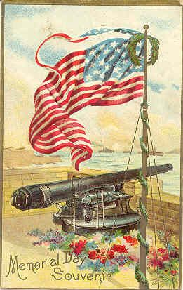 """ Let The Cannons Fire and Old Glory Wave "" Vintage Post Card. An embossed surface, DB-UNU with writing on back and in Very Good condition. Karodens Vintage Post Cards."