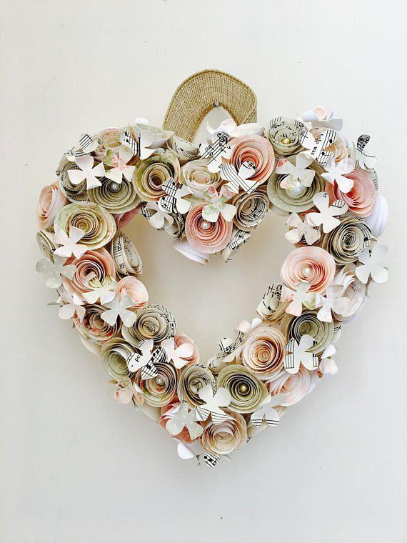 Heart wreath-valentine\'s love heart- paper flower wreath-wedding ...