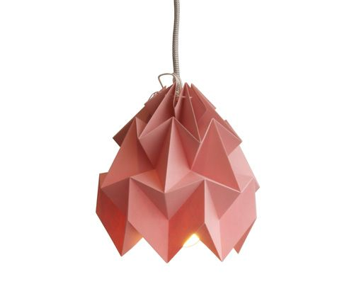 Studio Snowpuppe Lamp : Moth pink origami folded paper lamp from studio snowpuppe