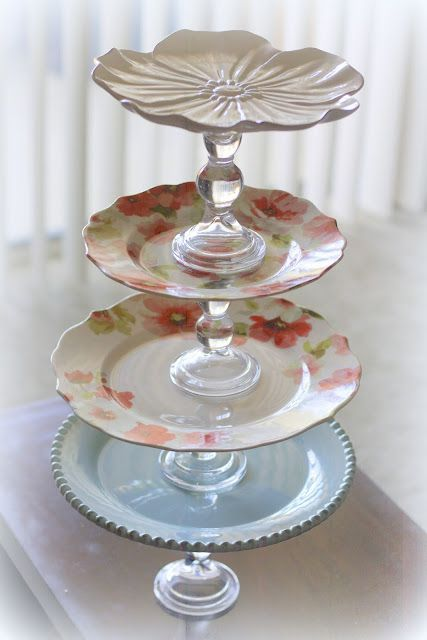 DIY Cake Plates. Would love to do this with antique finds! : cake serving plates - pezcame.com