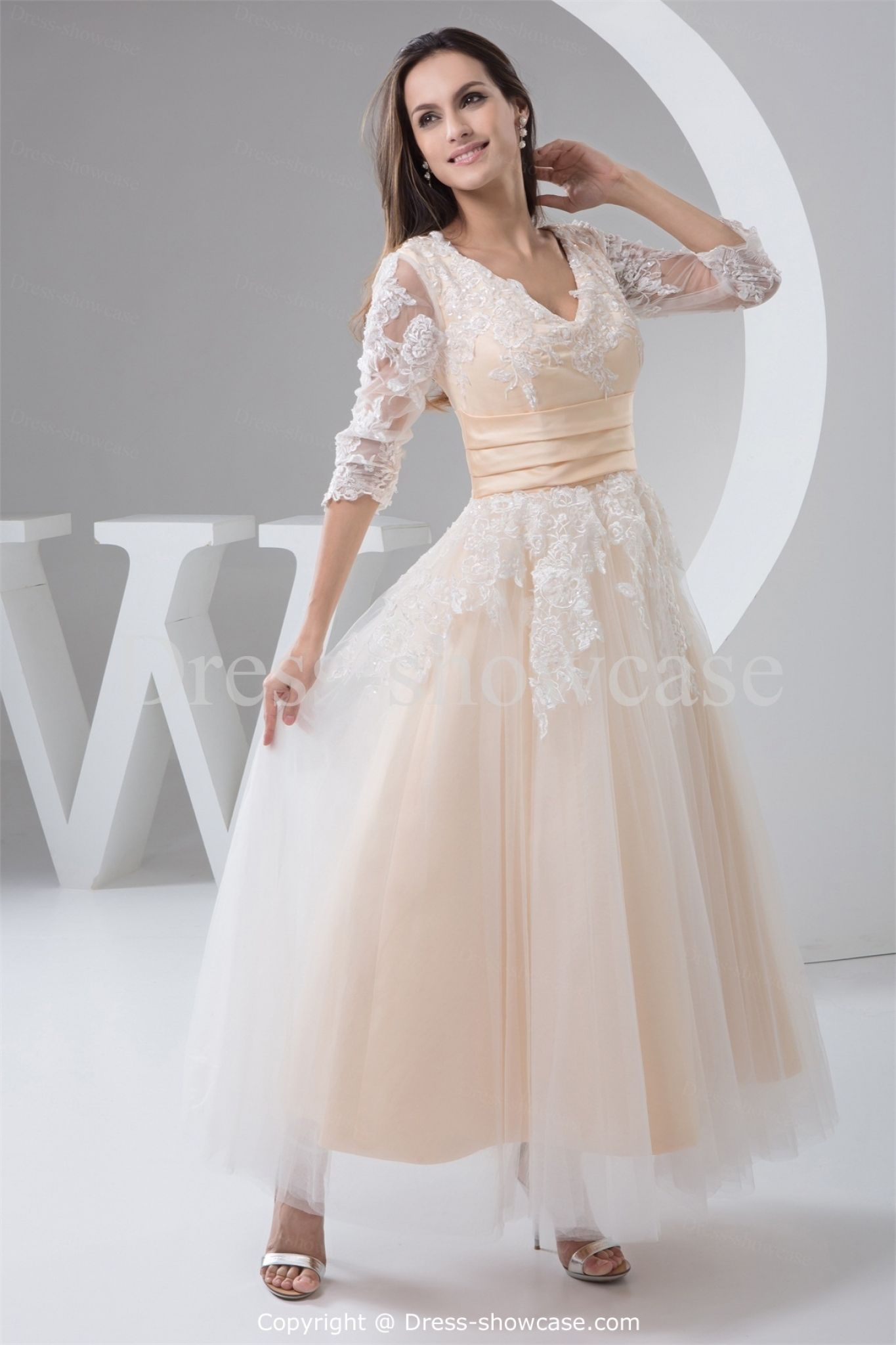 3 4 Length Sleeve Wedding Dress   Dressy Dresses For Weddings Check More At  Http: