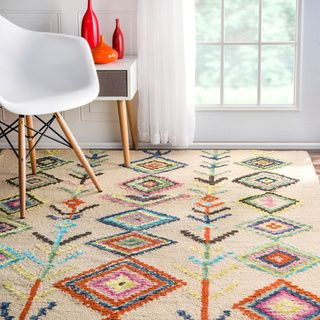 NuLOOM Contemporary Hand Tufted Wool Moroccan Triangle Multi Rug (4u0027 X 6u0027)  By Nuloom