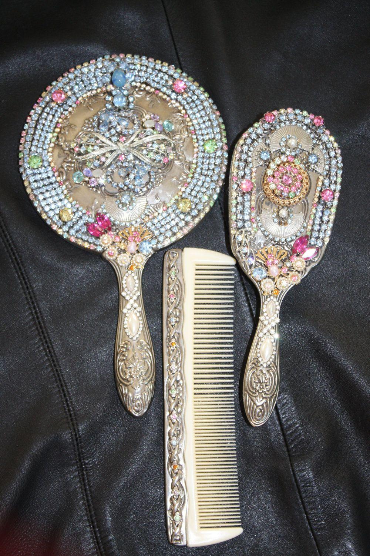Custom Rhinestone Embellished Vanity Mirror Set With Pale