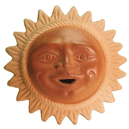 Large Terra Cotta Sun Face Mexican Pottery Terracotta