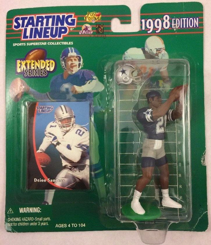 1998 Starting Lineup Nfl Football Extended Action Figure Deion Sanders Dallas Cowboys Nfl Football Dallas Cowboys Action Figures