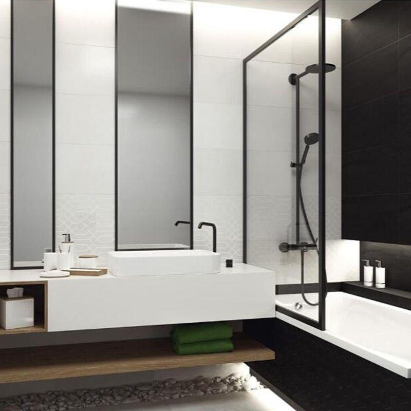 Pare Baignoire Fixe 70x140 Ou 80x140 Cm Profile Noir Indus Idee Deco Salle De Bain Moderne Idee Salle De Bain Amenagement Salle De Bain