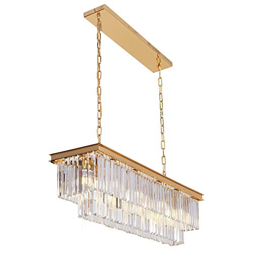 Amazon Com Osairuos L40 Modern Rectangular Crystal Chandelier Lighting Linear Pendant Ceili Rectangle Chandelier Ceiling Light Fixtures Drum Shade Chandelier
