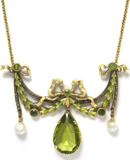 An Art Nouveau necklace, by Lucien Gautrait, circa 1900. Gold, demantoid garnet, peridot, pearl, diamond, enamel.