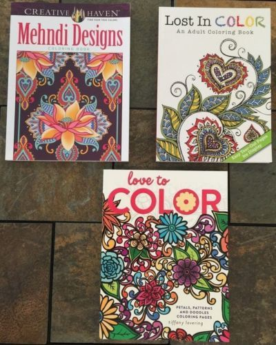 Lot Of 3 New Mehndi Lost In Color Love To Color Adult Coloring