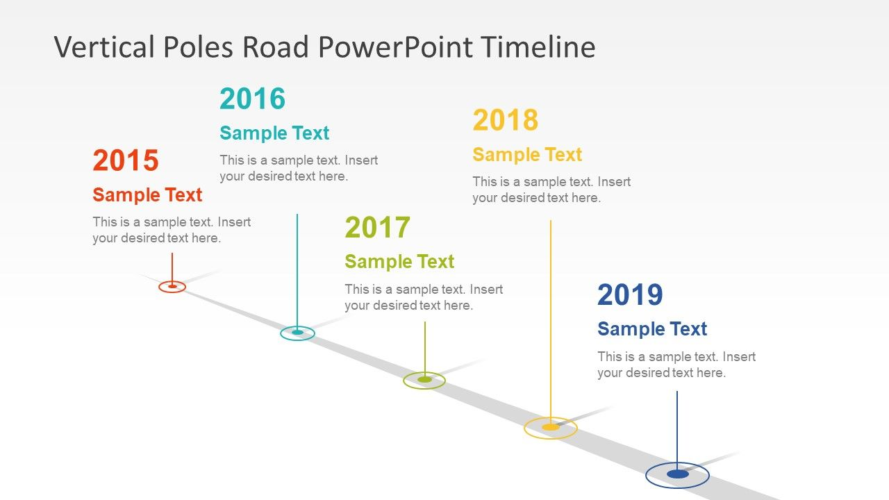 vertical poles road powerpoint timeline