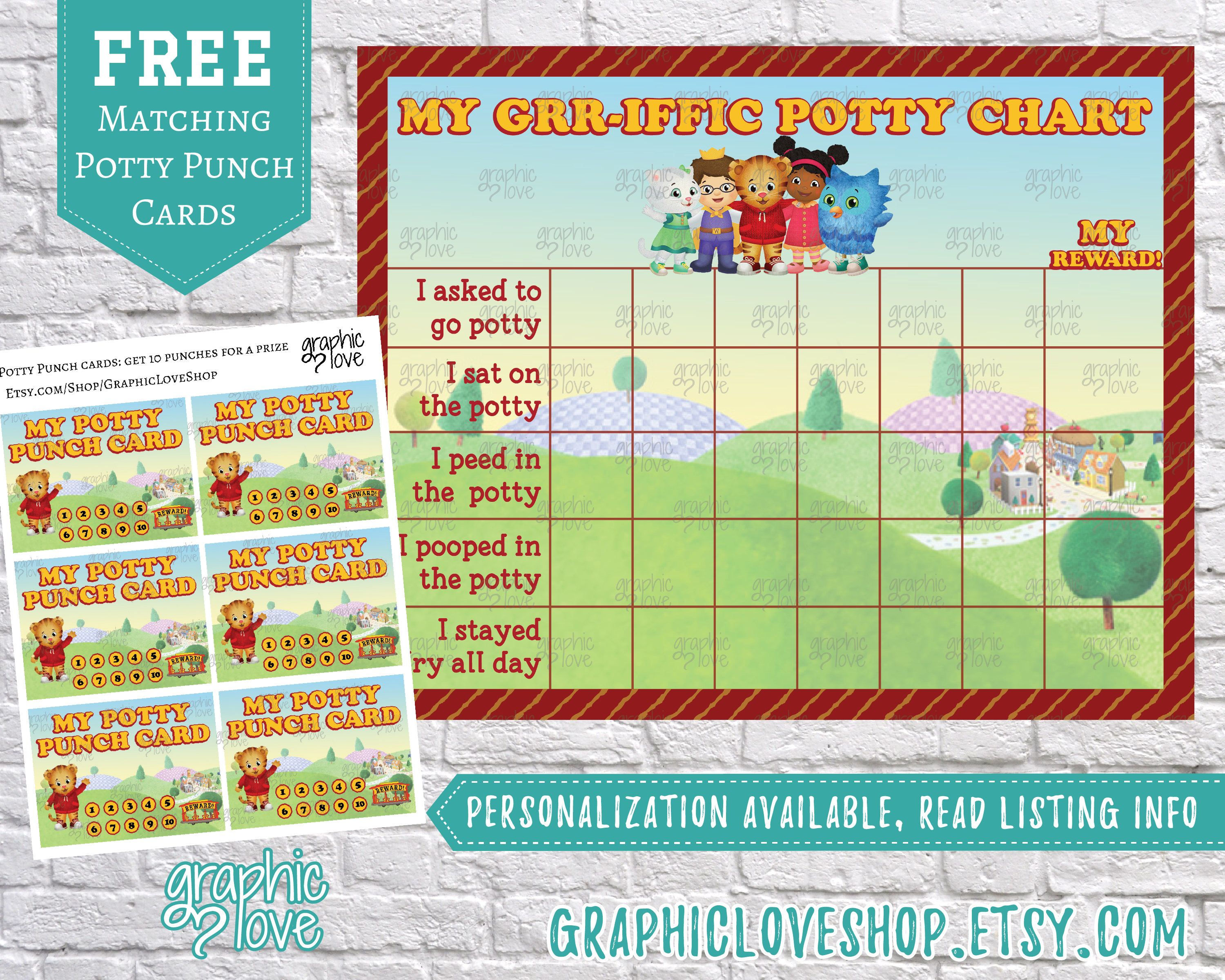 Printable Daniel Tiger Grr Iffic Potty Training Chart Free Punch Cards Mr Rogers Pbs Kids Neighborhoo Potty Training Chart Potty Chart Potty Training Tips