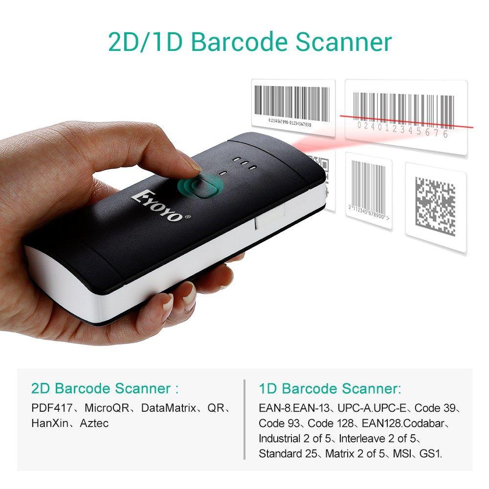 EYOYO EY-002S Pocket 2D Barcode Scanner Wireless Bluetooth