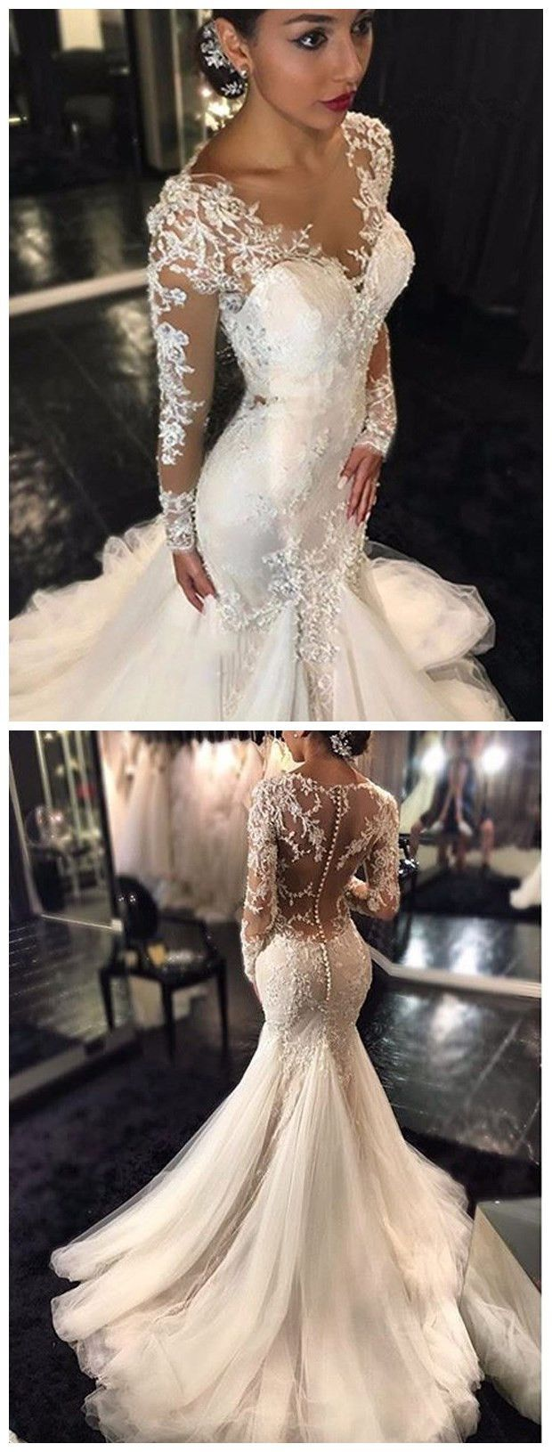 Trumpetmermaid vneck long sleeves lace court train tulle wedding
