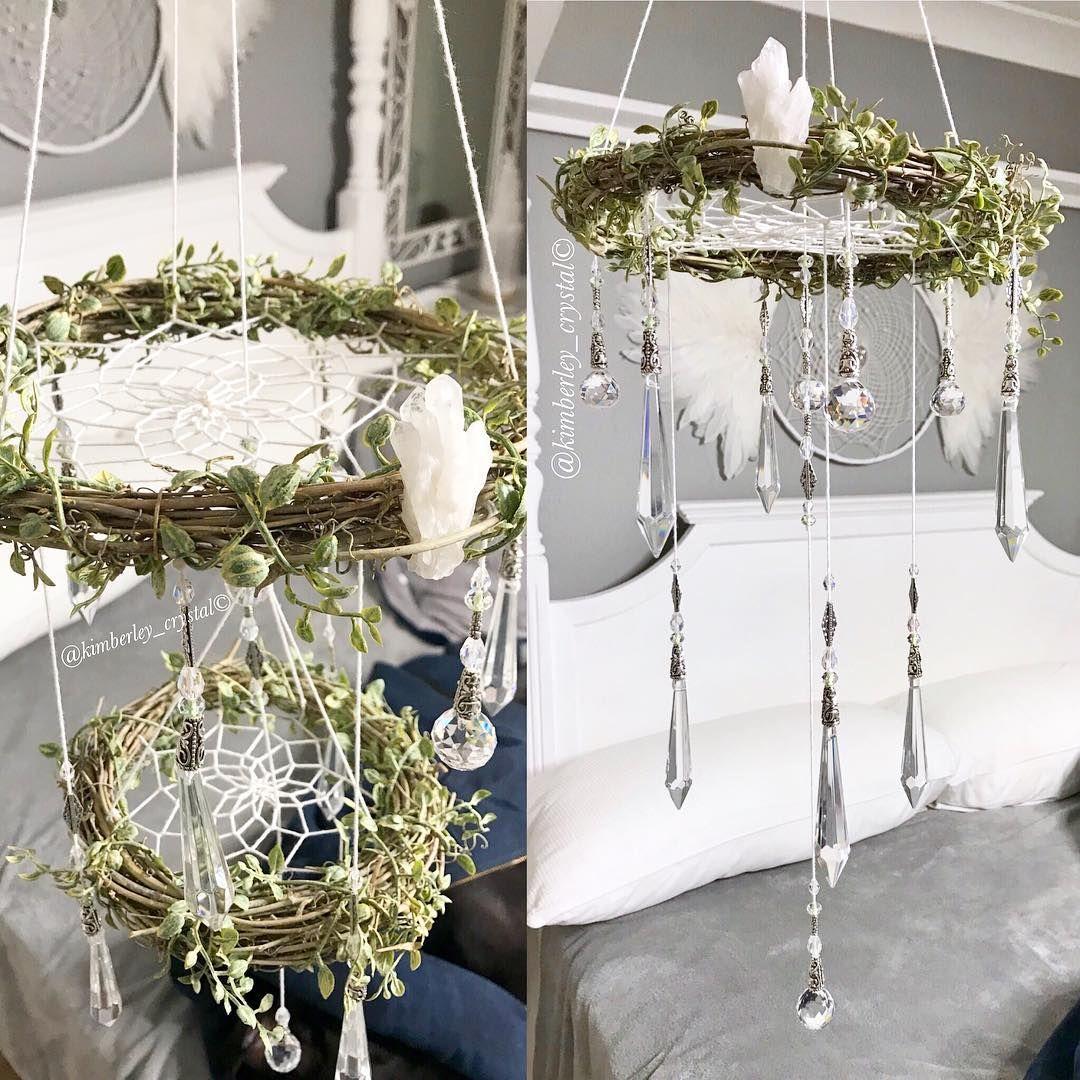 Diy Enchanted Forest Chandelier Dreamcatcher Crystal Mobile Enchanted Forest Bedroom Fairy Room Fairy Bedroom