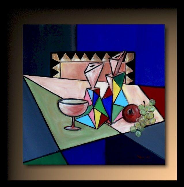 Les carafes sur la Table (Peinture), 50x50 cm par TEHOS Tableau de