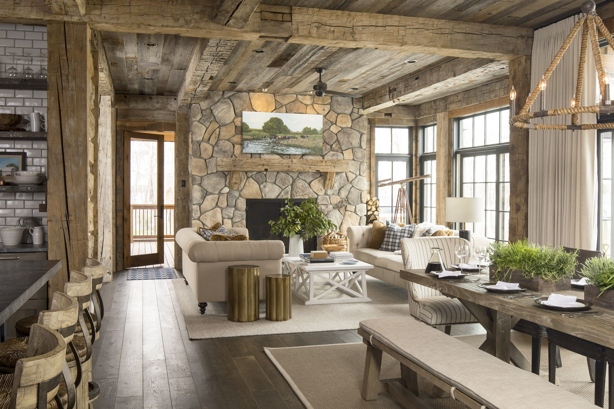 Rustic Reclaimed Wood Dining Room Open To Kitchen And Living Room