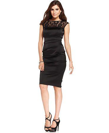 Xscape Dress, Sleeveless Lace Cocktail Sheath - Womens Dresses ...