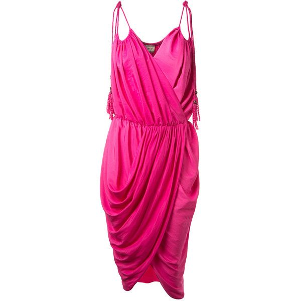 Lanvin Fuchsia Satin Wrap Dress Satin Wrap Dress Fuschia Pink Dress Pink Wrap Dress