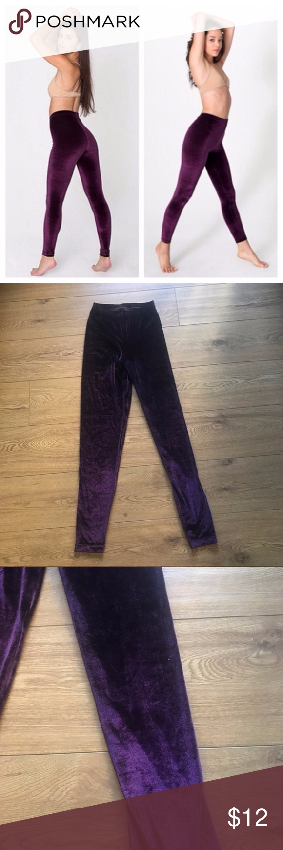 "American Apparel Purple Velvet Leggings - L Gorgeous pair of American Apparel purple velvet leggings. Inseam 29.5"", Rise 11.5"". Gorgeous for this time of year and perfectly trendy this season. American Apparel Pants Leggings"