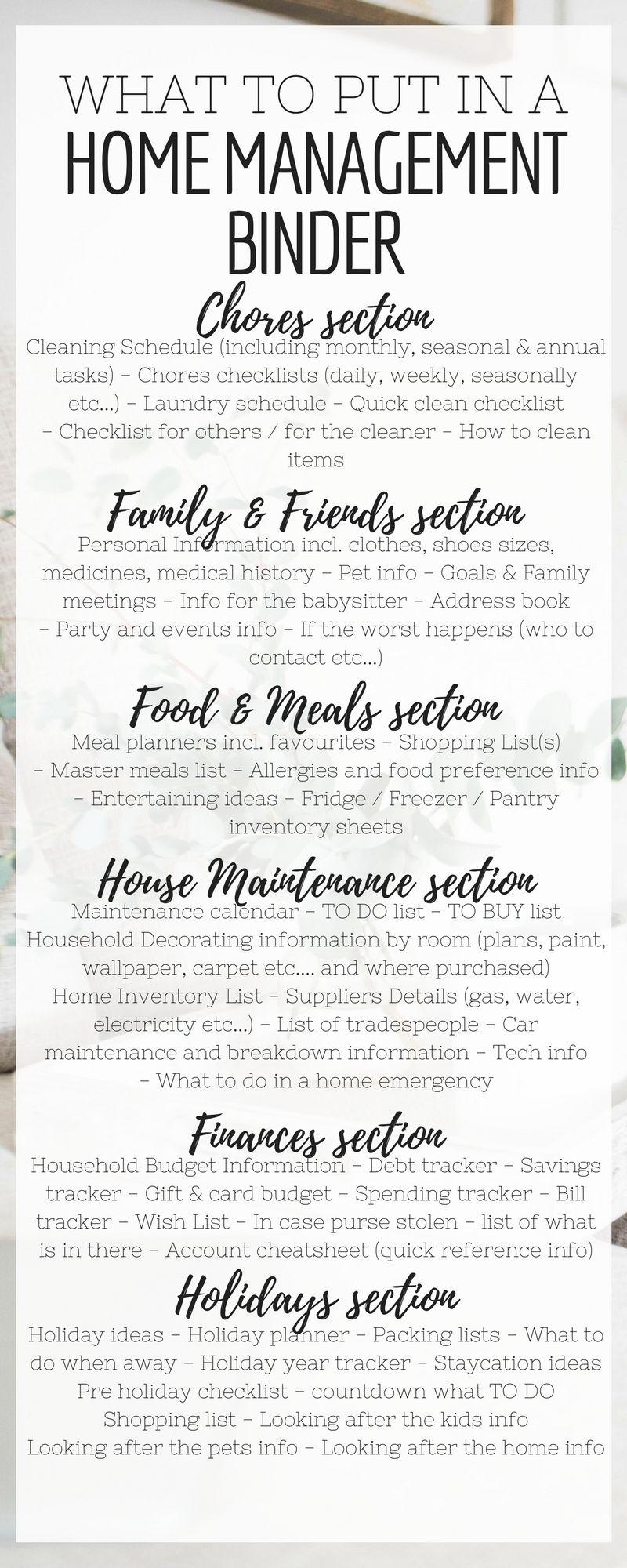 Home Management Binder Contents List