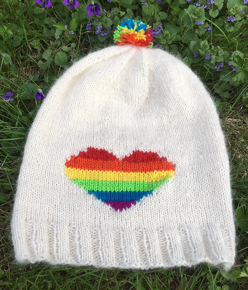 71e8f615ee8 Free Knitting Pattern for Rainbow Heart Hat - Slouchy beanie with striped  rainbow heart chart that can be created with intarsia or duplicate stitch.