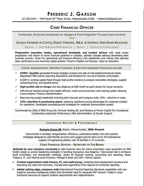 Chief Financial Officer Resume Example