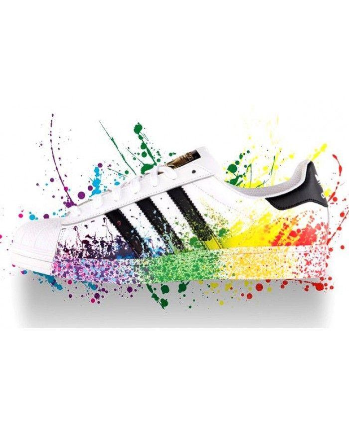 size 40 a8de1 b758d Cheap Adidas Originals Superstar II Pride Pack Unisex Splash Ink Rainbow  White Black UK
