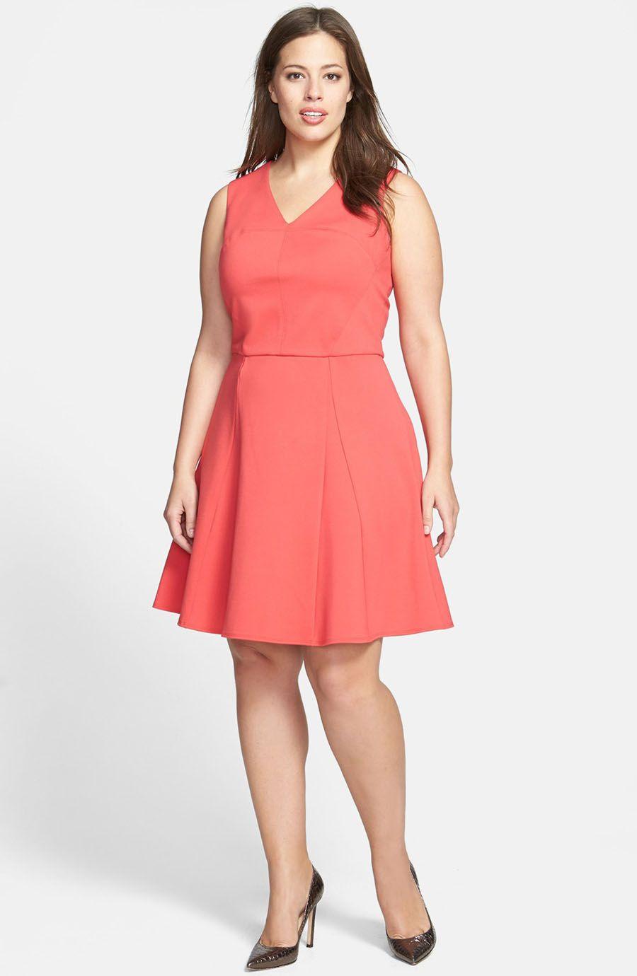 Timeless v-neck plus size short coral bridesmaid dress | vestidos ...