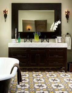21 Bold Patterned Tile Floors With Punch Spanish Style Decor Bathroom Tile Designs Spanish Bathroom