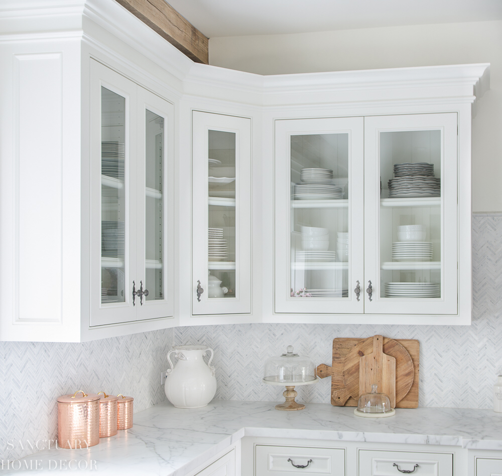 How to Style Glass Kitchen Cabinets   Sanctuary Home Decor   Glass ...