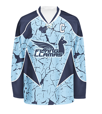 One Of Our 1st Sublimated Designs For The Flying Llamas Roller Hockey Team Hockeyjersey Customjersey Jersey Design Custom Hockey Jerseys Custom Jerseys