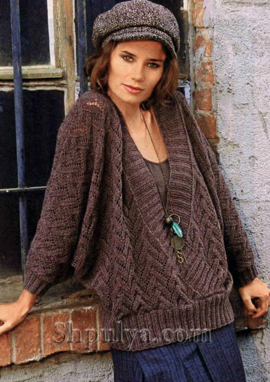 Вязаный пуловер с рукавами \