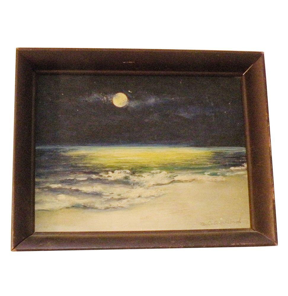 A.G. ARCHIBALD MOONLIGHT OVER OCEAN OIL IN WOOD FRAME-IMPRESSIONIST MODERN  #Impressionism