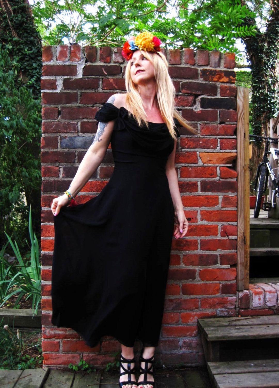 Vintage 90s Black Off Shoulder Silk Chiffon Midi Dress Witchy Festival Goth Stevie Nicks Boho Black Off Shoulder Chiffon Midi Dress Silk Chiffon [ 1500 x 1081 Pixel ]