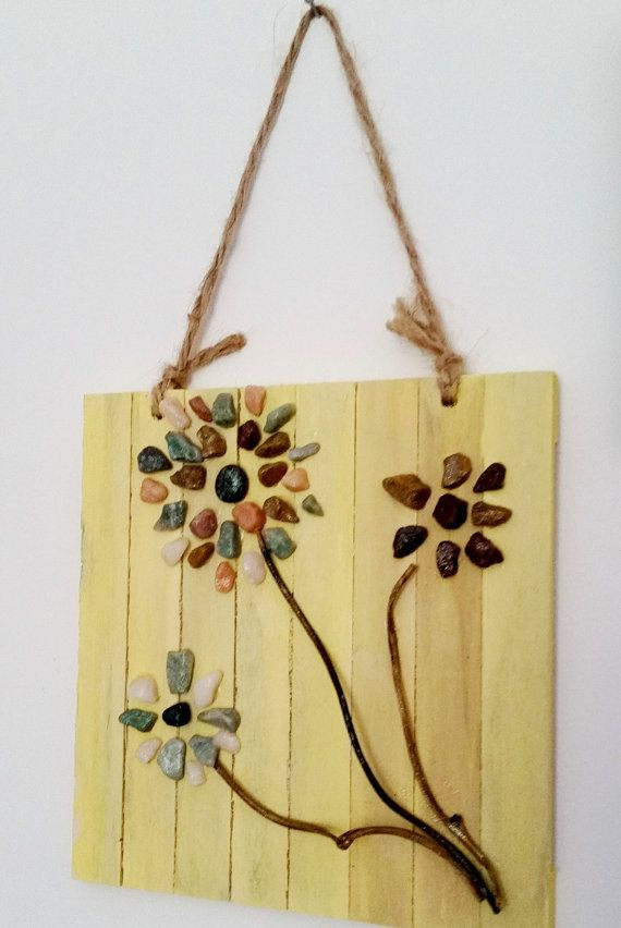 Rock Art Home Decor Beach Pebble flowers stone wall hanging original ...