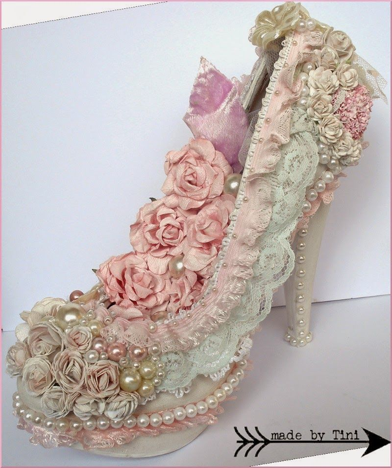 Altered Shoe Shabby Chic Style Arts By Tini Shabby Chic - Manualidades-shabby-chic
