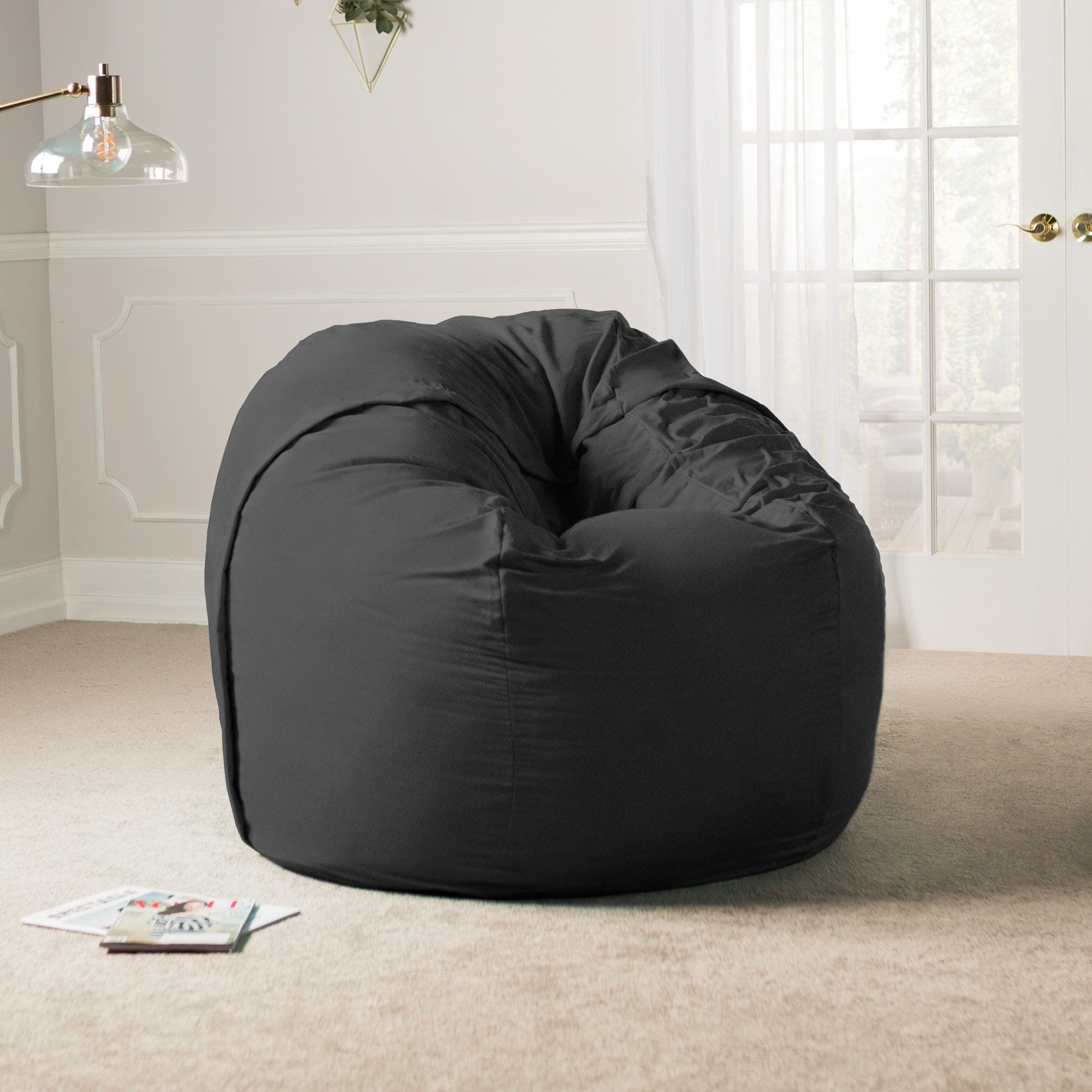 Fantastic Jaxx 5 Foot Saxx Big Bean Bag Chair For Adults Black Andrewgaddart Wooden Chair Designs For Living Room Andrewgaddartcom