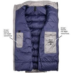 Photo of Bluer. Usa men's down jacket, microfiber, light gray blue