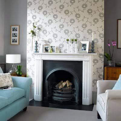 Wallpaper Above The Fireplace Just Needs A Mirror Imo Best Living Room Wallpaper Feature Wall Living Room Wallpaper Living Room