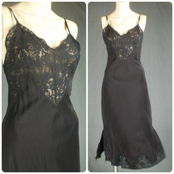 vintage 40s nightgown  1940s sheer black nightgown  black lace bias cut nightgown  sheer black slip dress  1940s boudoir sleepwear