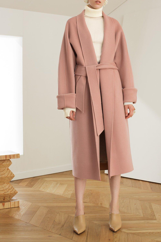 6a2da82d246 Wide Sleeve Wool Blend Wrap Coat    Genuine People