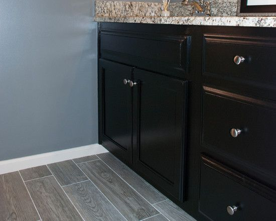 Appealing fake wood flooring black bathroom cabinet marble vanity gray paint wall decorated - Painting bathroom cabinets black ...