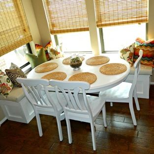 Amanda Maerz My Husband Actually Built The Banquette And I Made All The Pillows The Zig Zag Fabric Traditional Dining Traditional Dining Room Breakfast Room