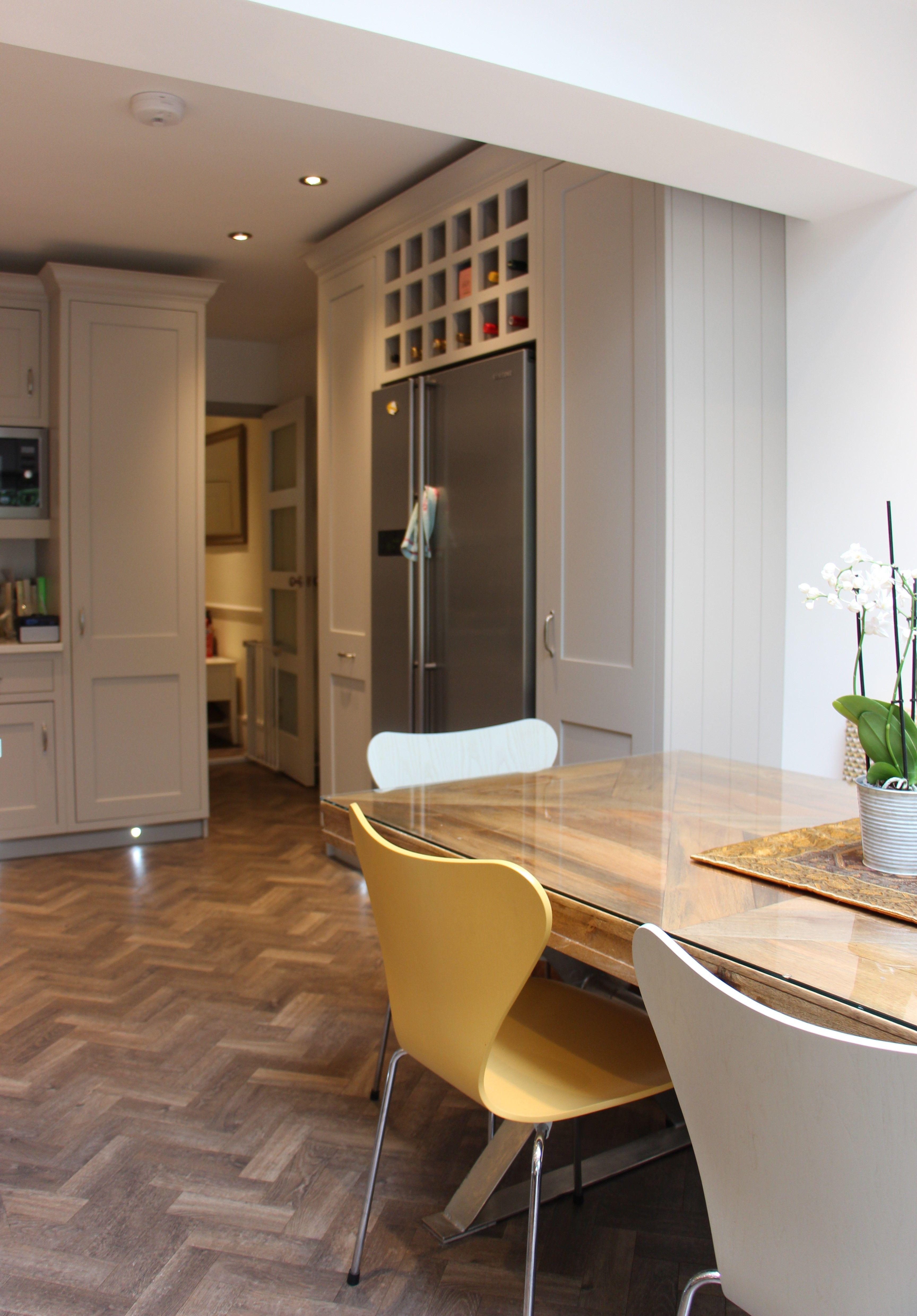 Herringbone Floor, Grey Painted shaker Door and