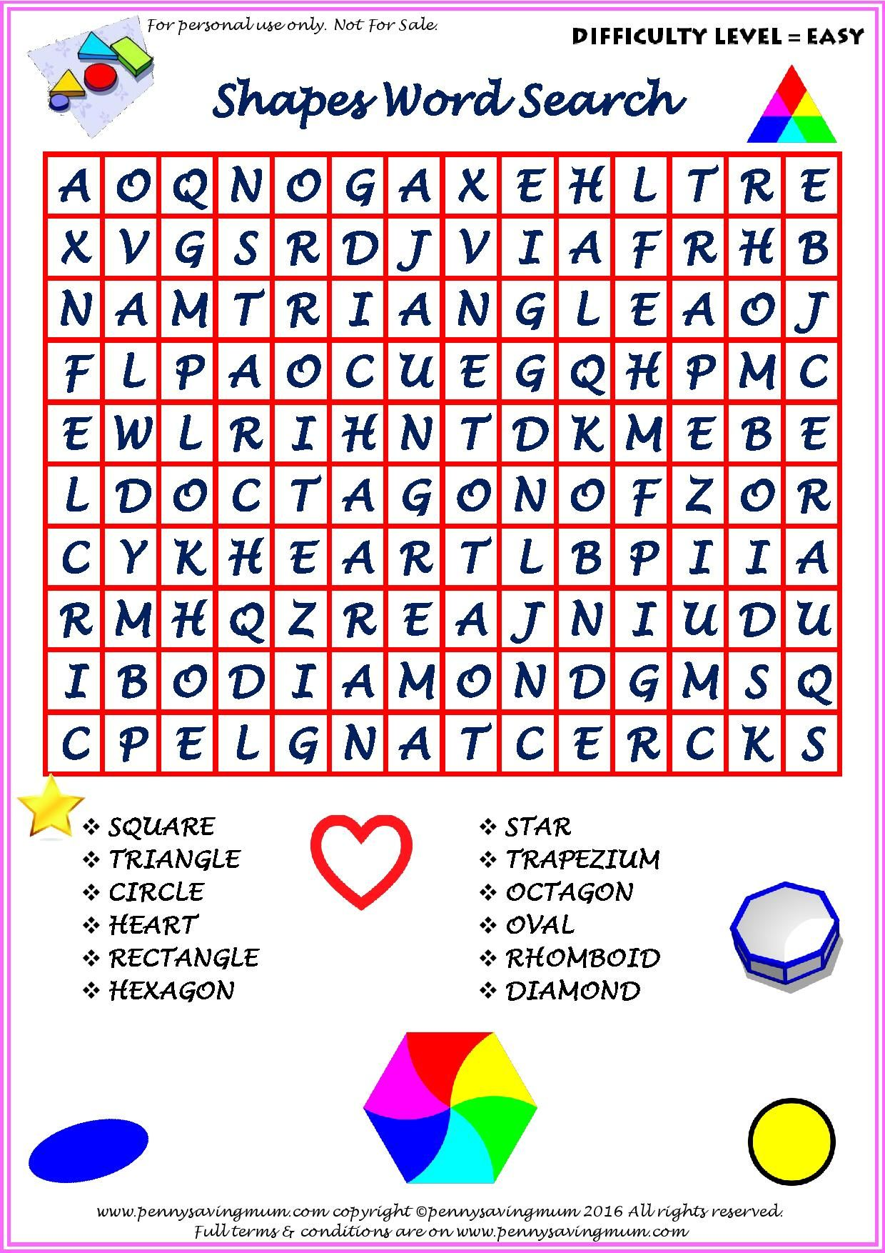 Word Search Shapes Easy Version