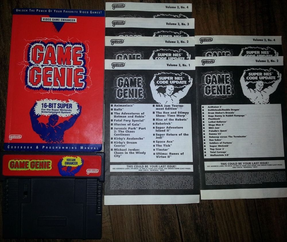 Game boy color game genie codes - Snes Game Genie Video Game Enhancer Version 2 0 Code Books Tested Working Rare