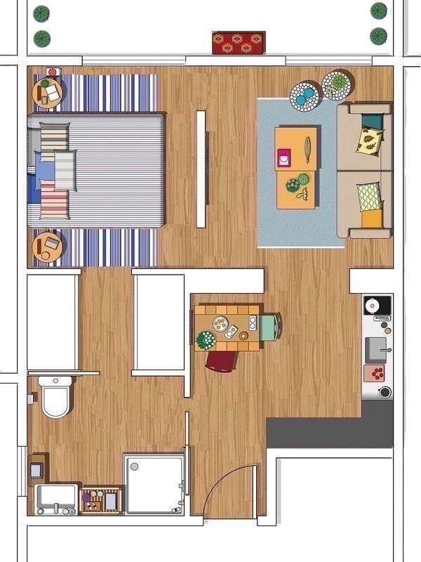 Apartamento de soltero planos in 2019 casas modernas for Apartamentos pequenos planos